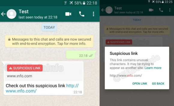 WhatsApp verdachte links screenshot