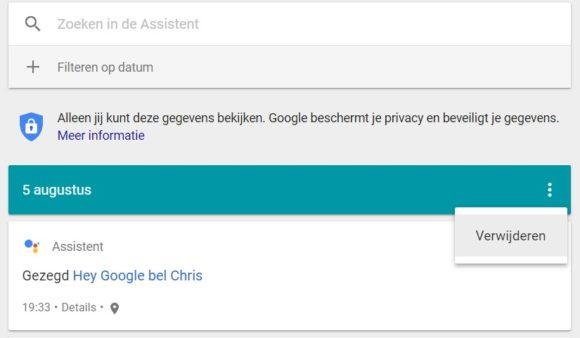 Google Assistent gesprek verwijderen pc (1)