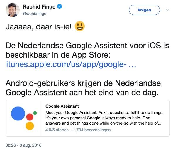 nederlandse google assistent