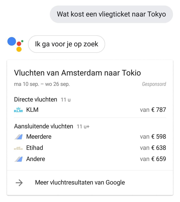 google assistent vragen