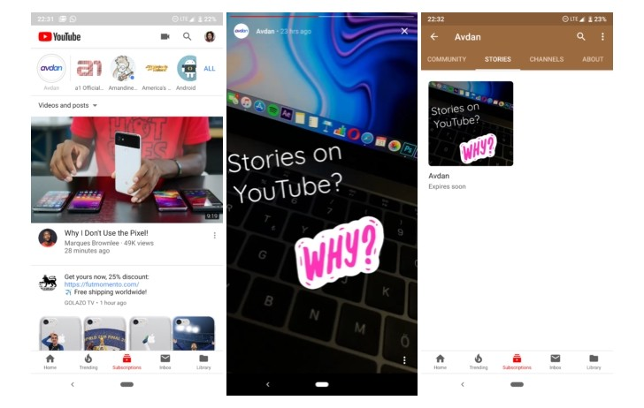 YouTube Stories-update