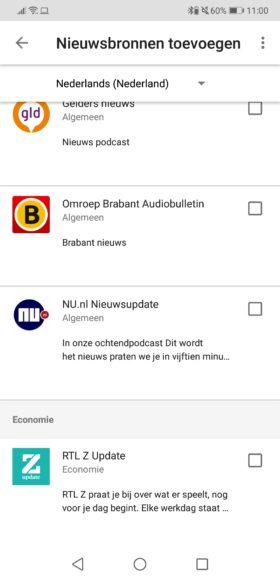 Google Assistent nieuws luisteren