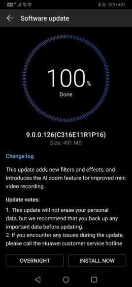 Eerste Huawei Mate 20 Pro-update