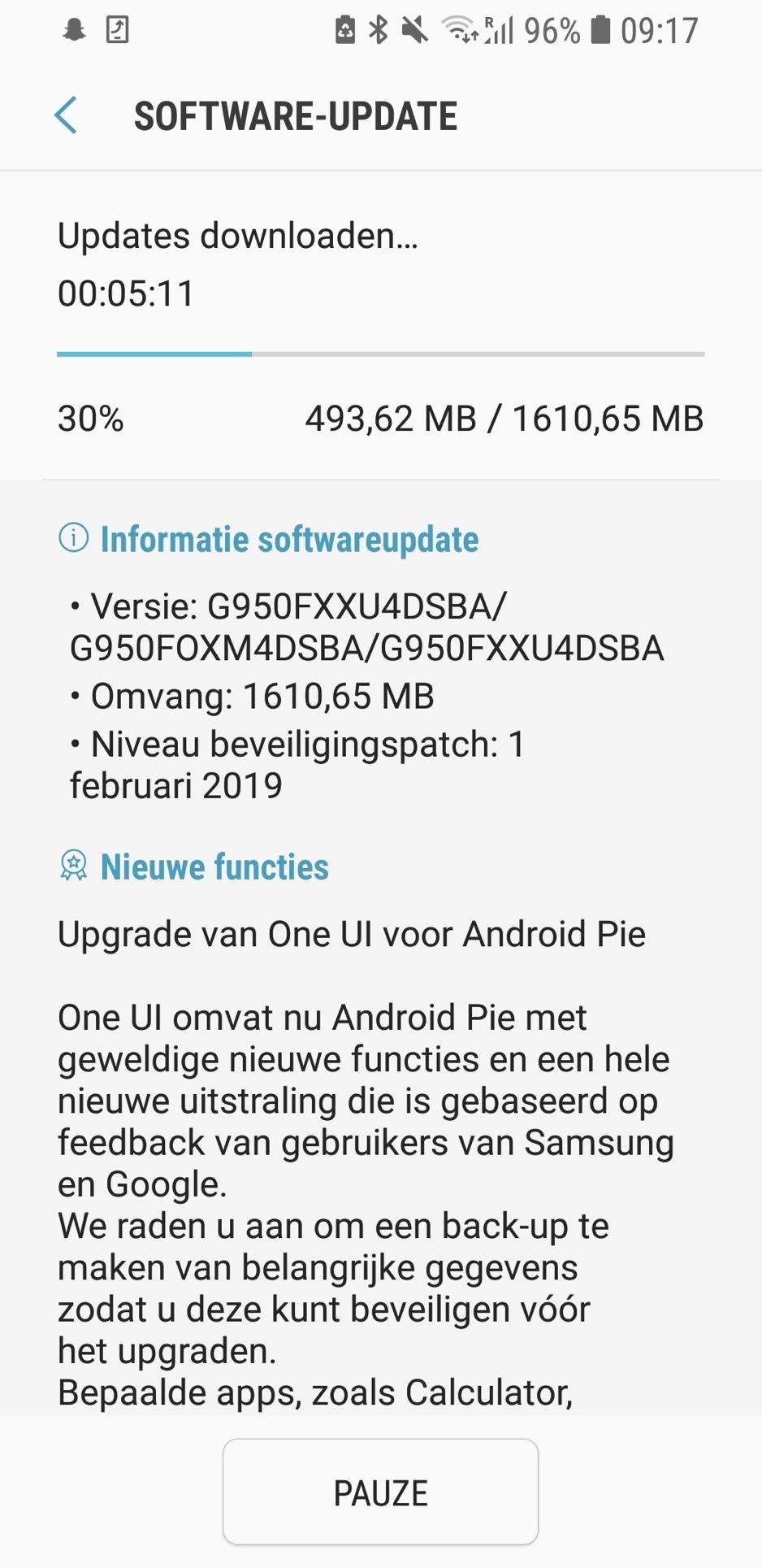 Samsung Galaxy S8 Android Pie-update nu beschikbaar in Nederland