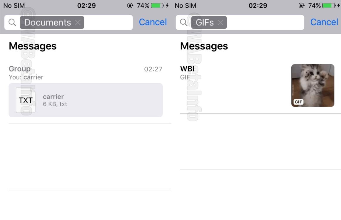 whatsapp zoekfunctie