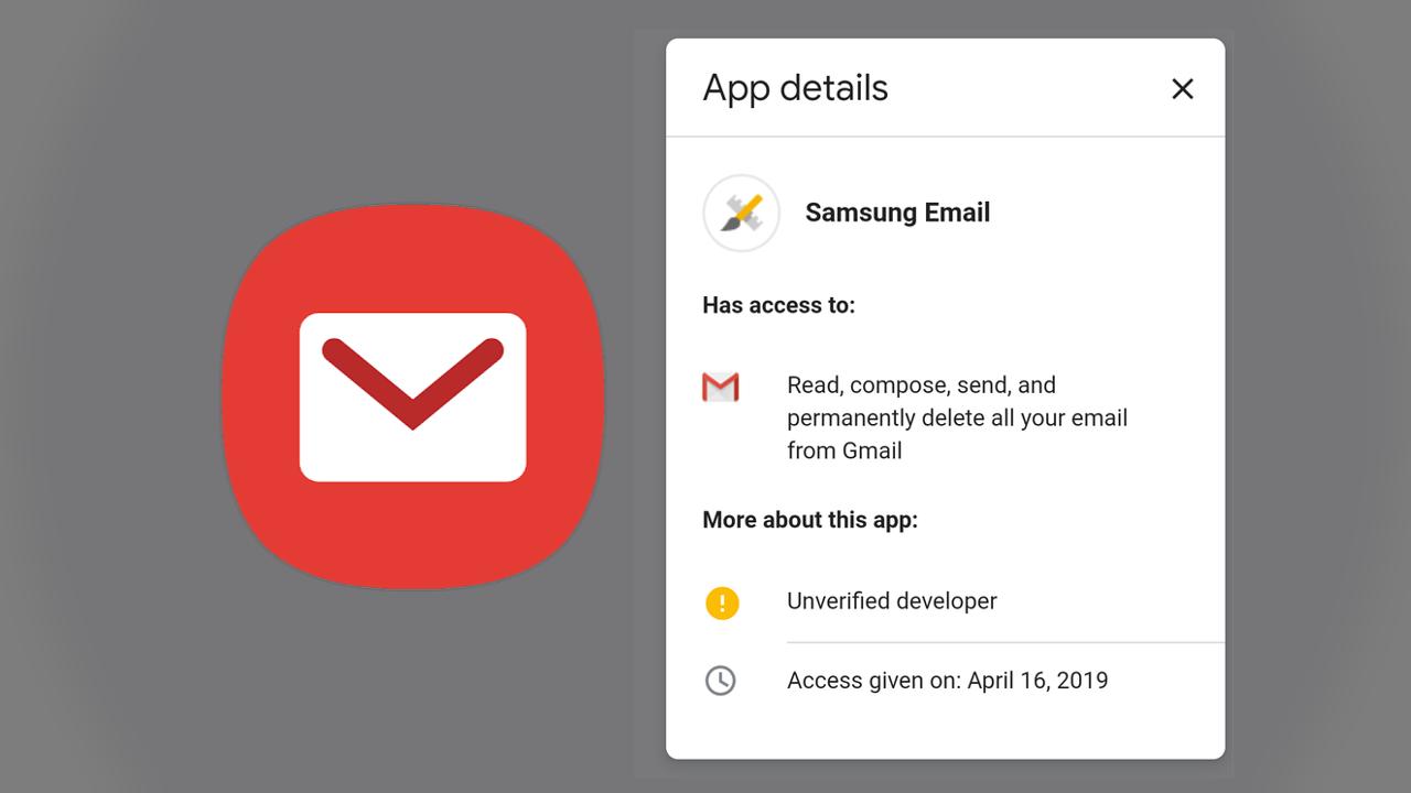 Waarom Google je opeens waarschuwt voor de Samsung Email-app