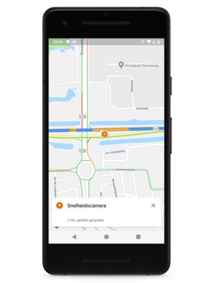Google Maps toont flitspalen
