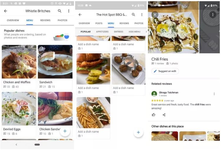 Google Maps menukaart-update