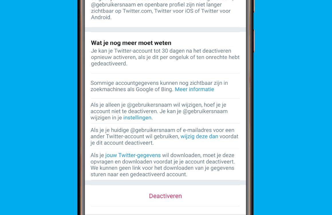Twitter account verwijderen Twitter gegevens downloaden