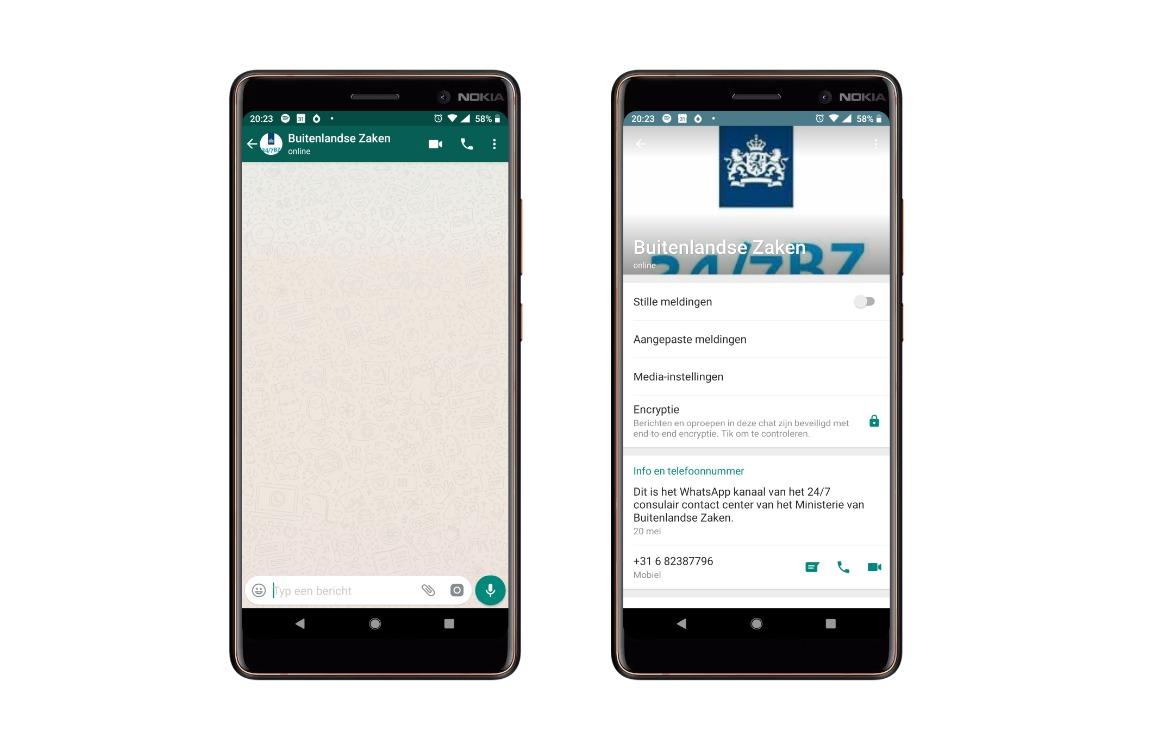 WhatsApp buitenlandse zaken screens