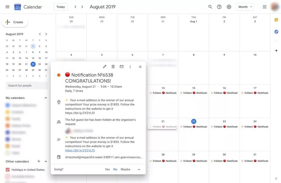 Google Agenda spam
