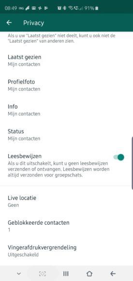 whatsapp vingerafdrukvergrendeling