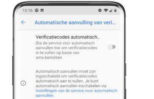 Android sms codes invullen