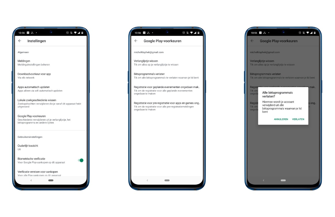 Bètaprogramma's Android apps verlaten