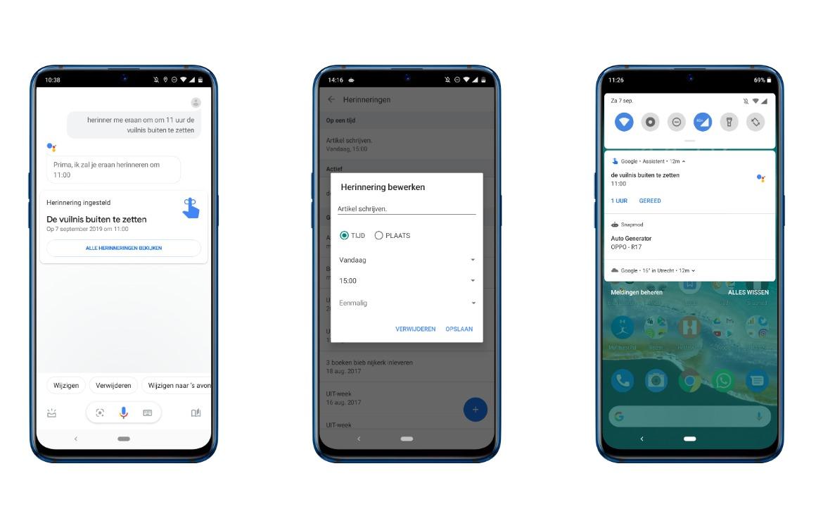 Google Assistent herinnering instellen