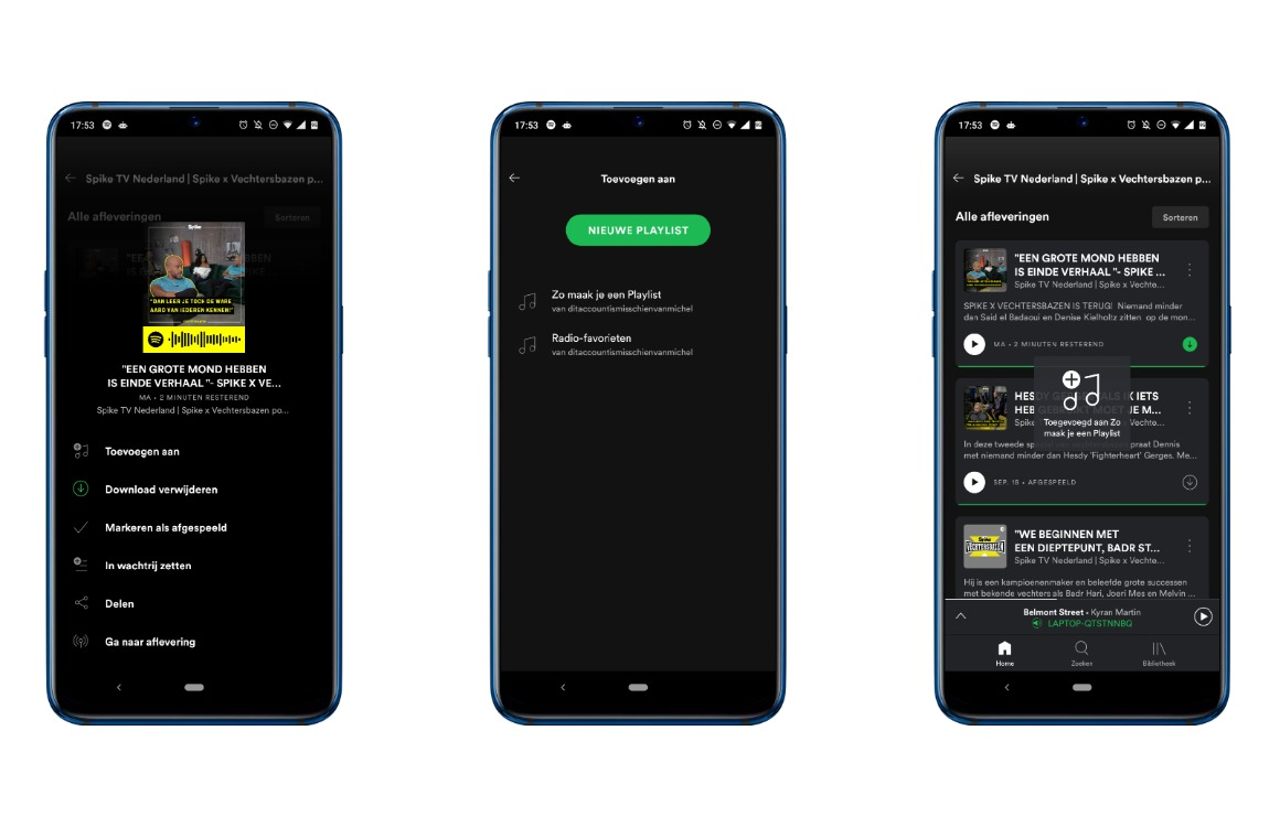 Spotify podcast-afspeellijst maken screens