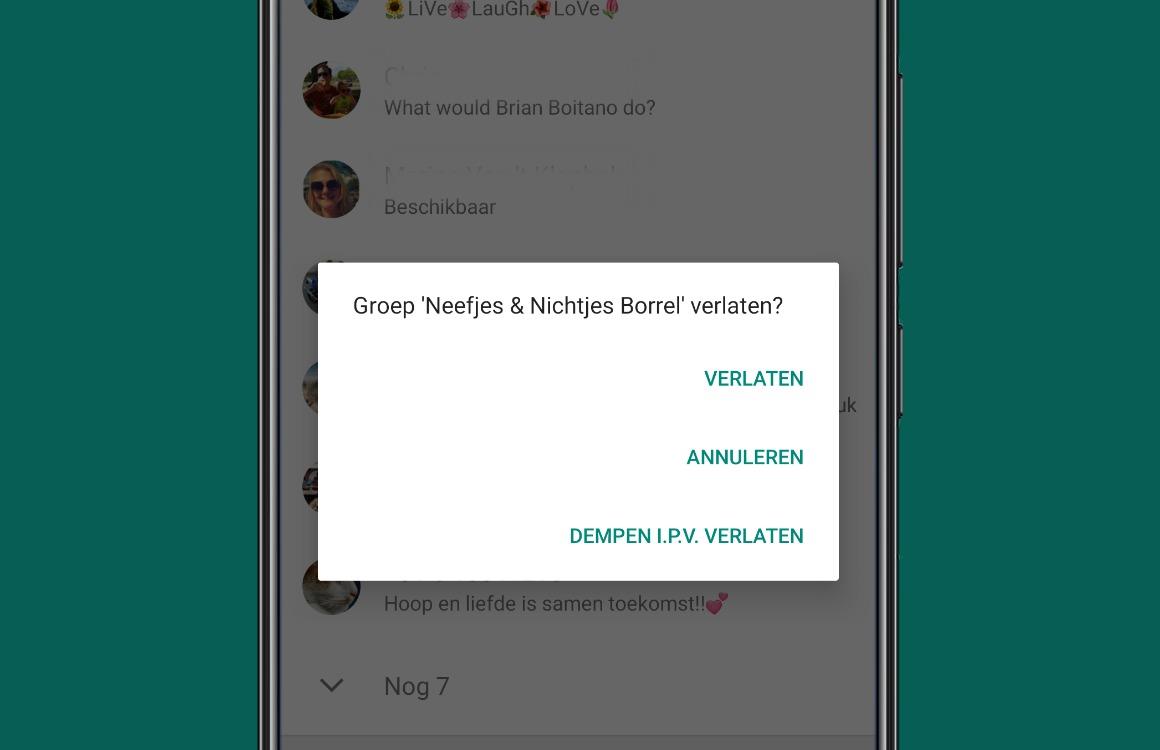 WhatsApp groep verwijderen