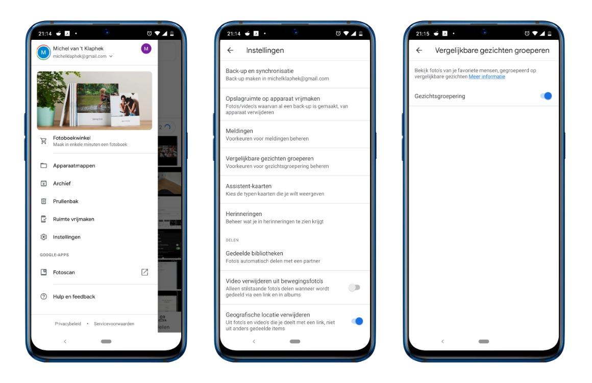 Google Foto's tips screens