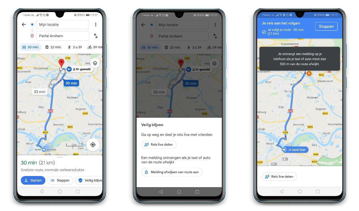 Google Maps - Melding afwijkende route