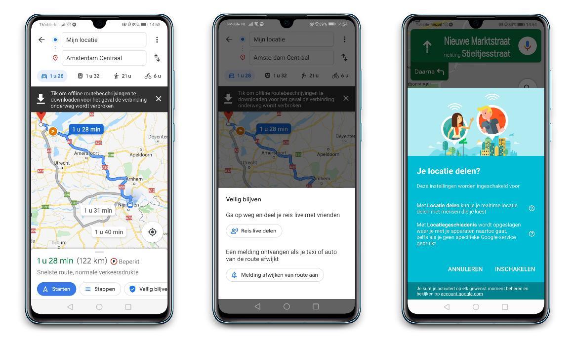 Google Maps - Reis live delen