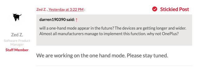 Bevestiging OnePlus éénhandmodus