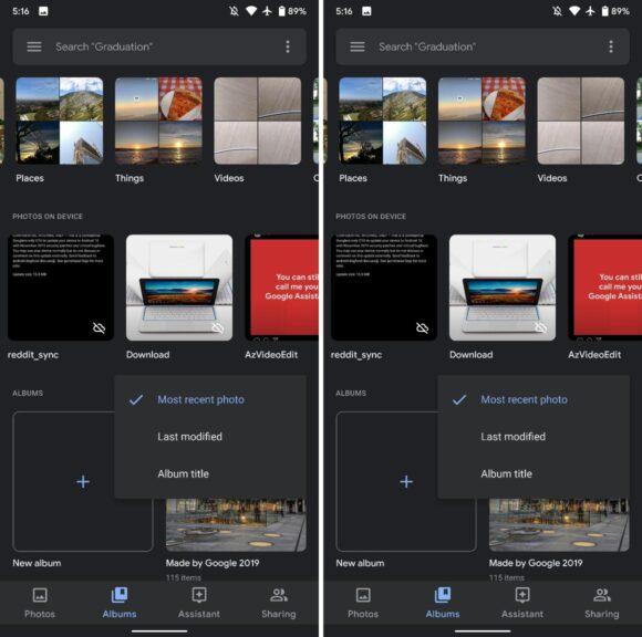 Google Foto's - albumweergave