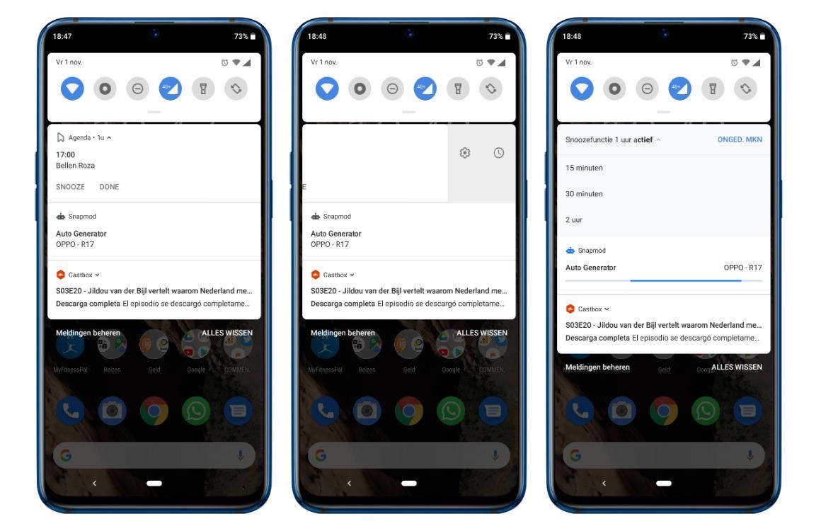 meldingen snoozen android screens