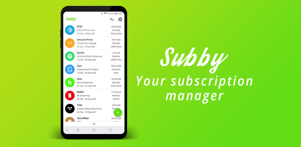 abonnementen apps subby