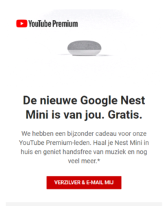 Google Nest Mini - gratis bij YouTube Premium-account