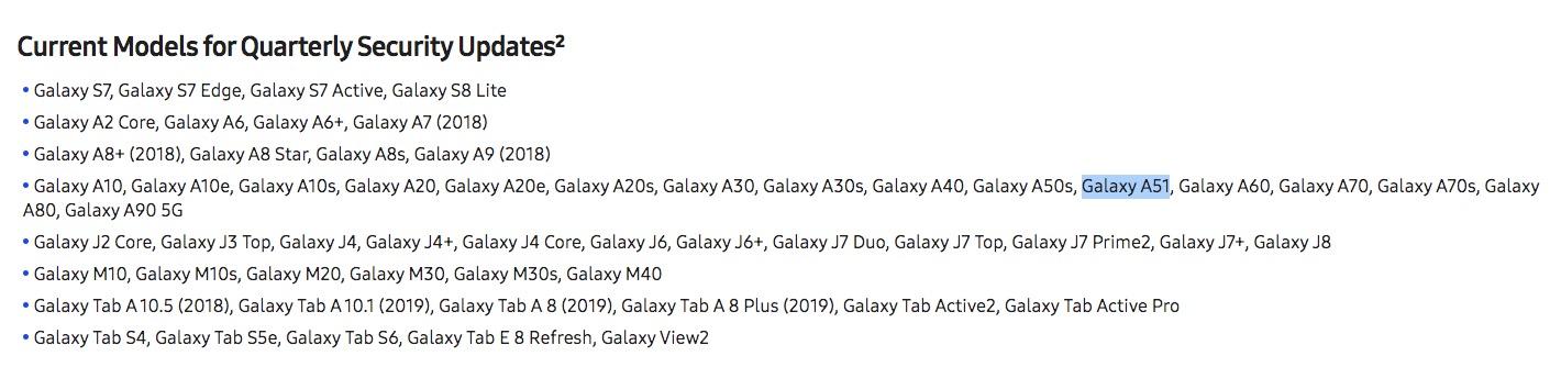 samsung galaxy a51 updates