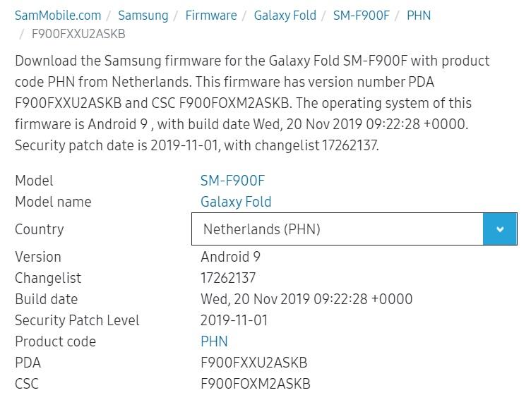 Samsung Galaxy Fold - NL-firmware