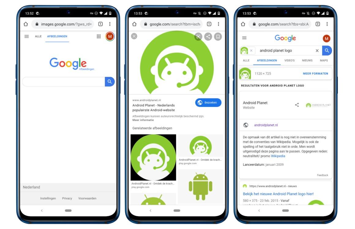 afbeelding zoeken in android screens