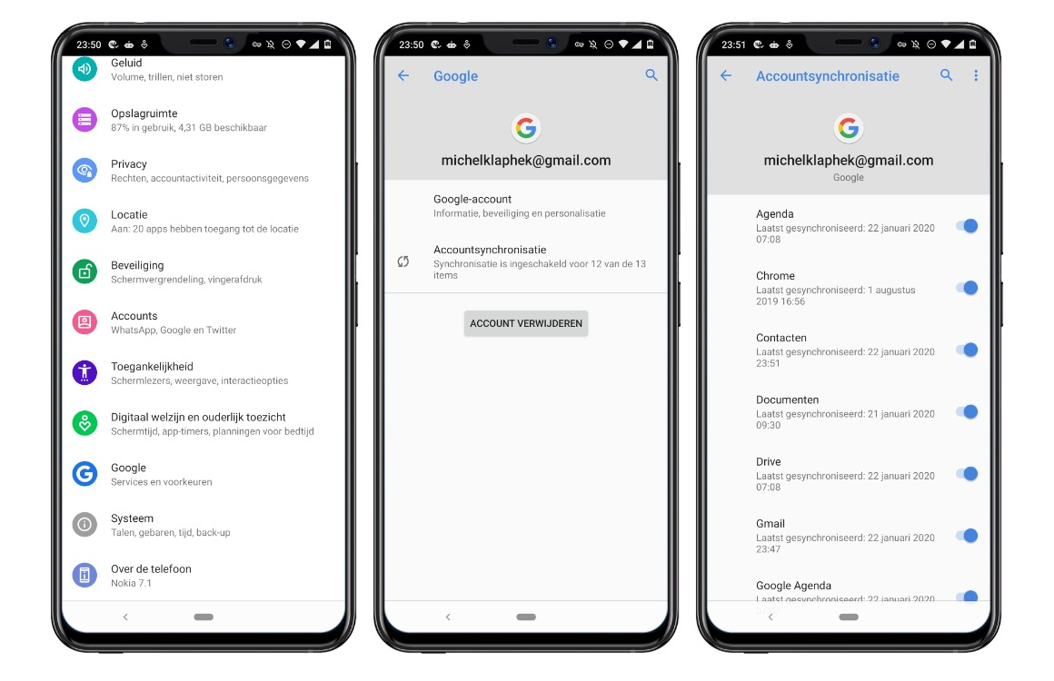 contacten overzetten android screens