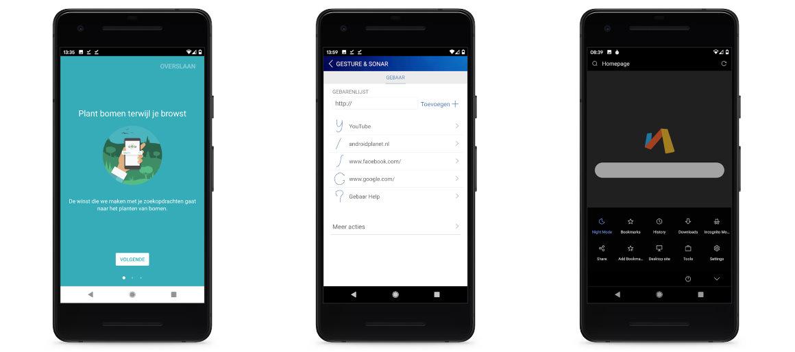 Ecosia, dolphin, via browser screenshot alternatief Android