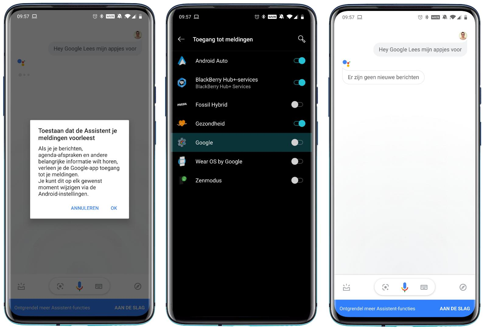 Google Assistent berichtjes