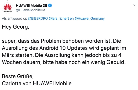 huawei p20 pro android 10-update
