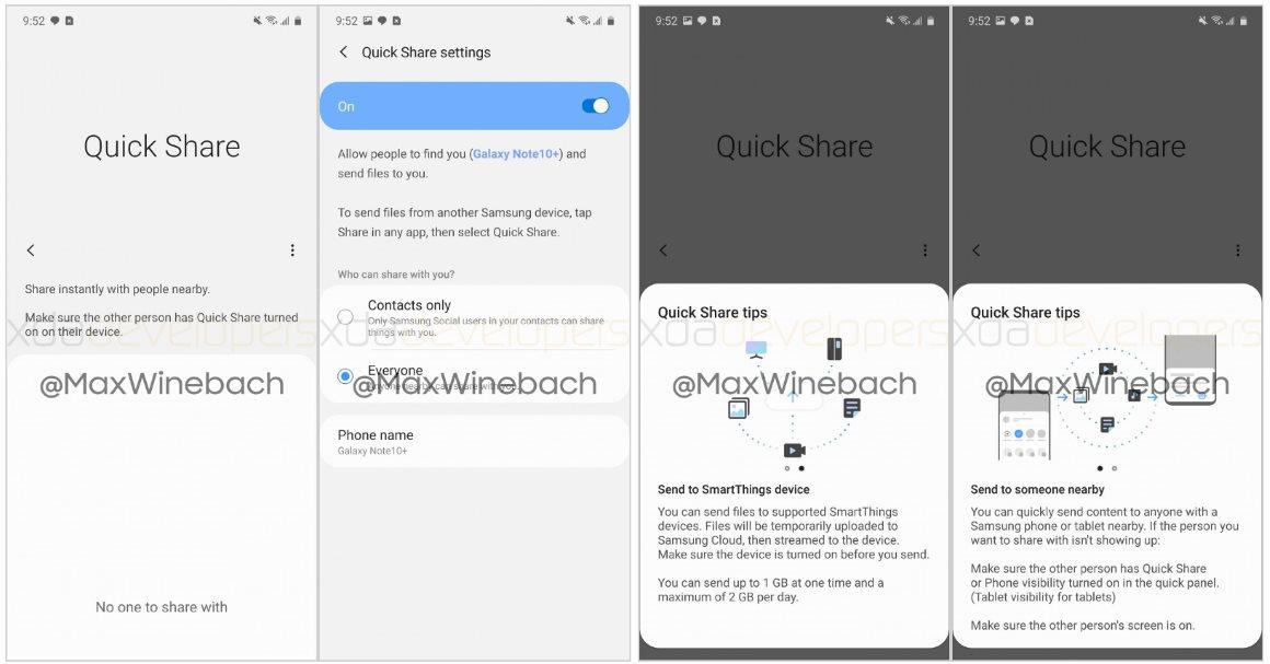 Samsung Quick Share screenshots
