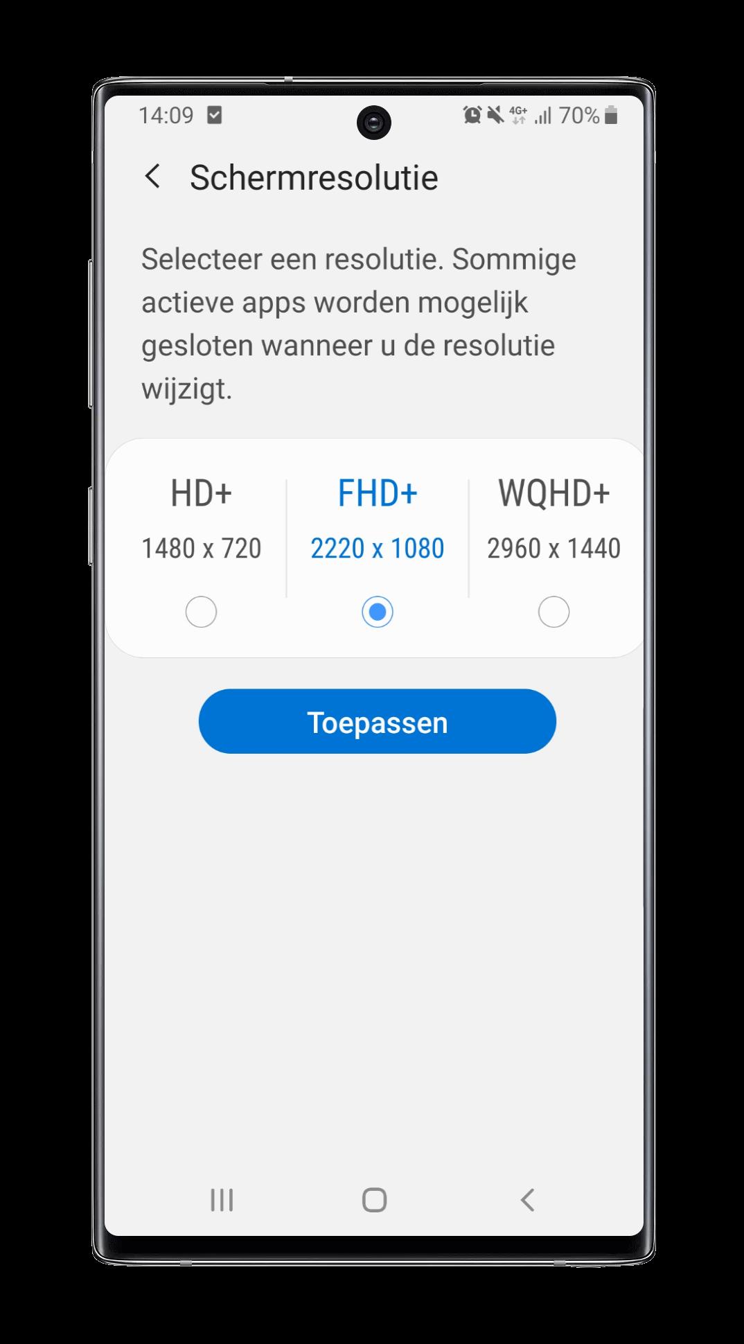 Schermresolutie wijzigen Samsung