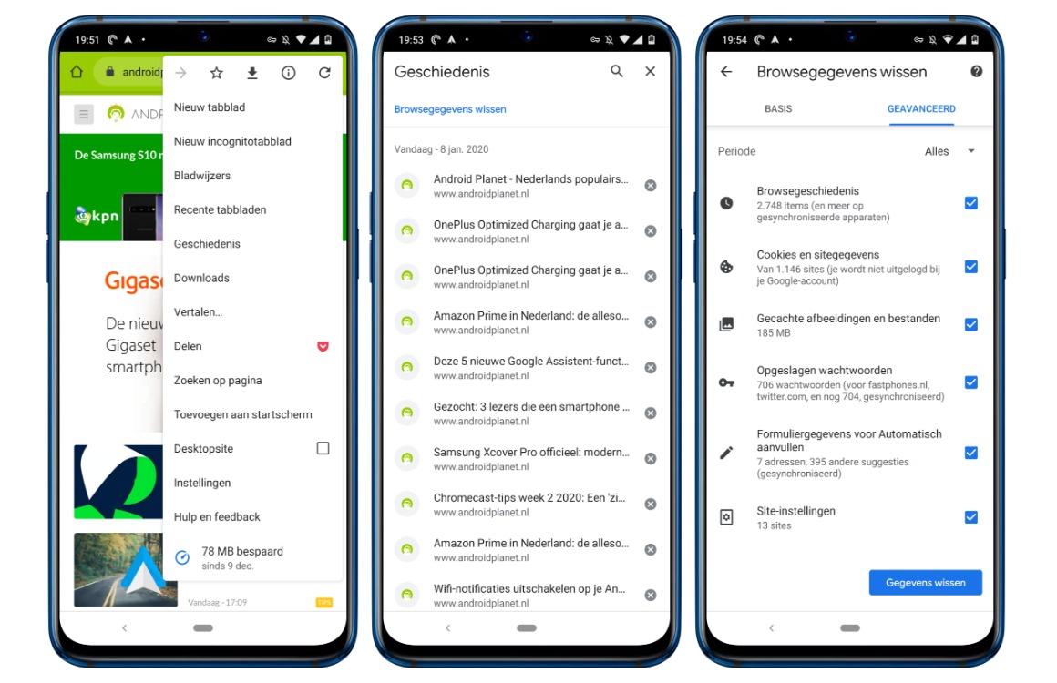 zoekgeschiedenis wissen android