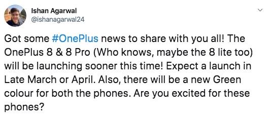 oneplus 8 aankondiging