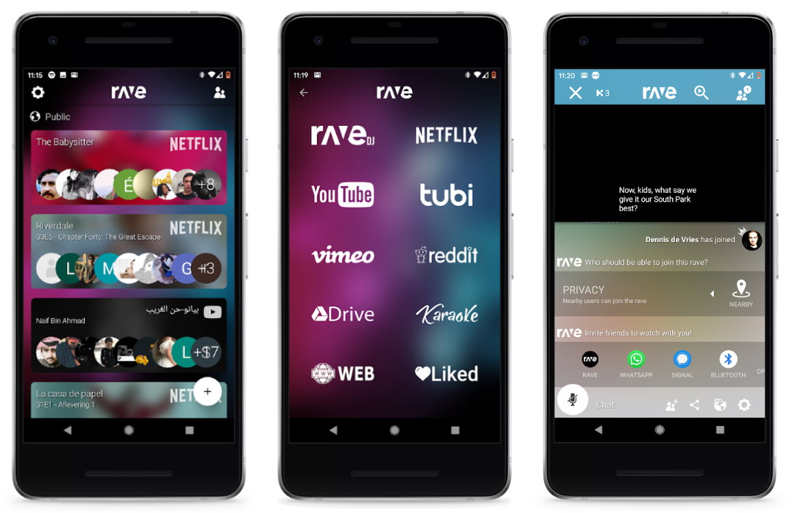 rave app voor netflix screenshots