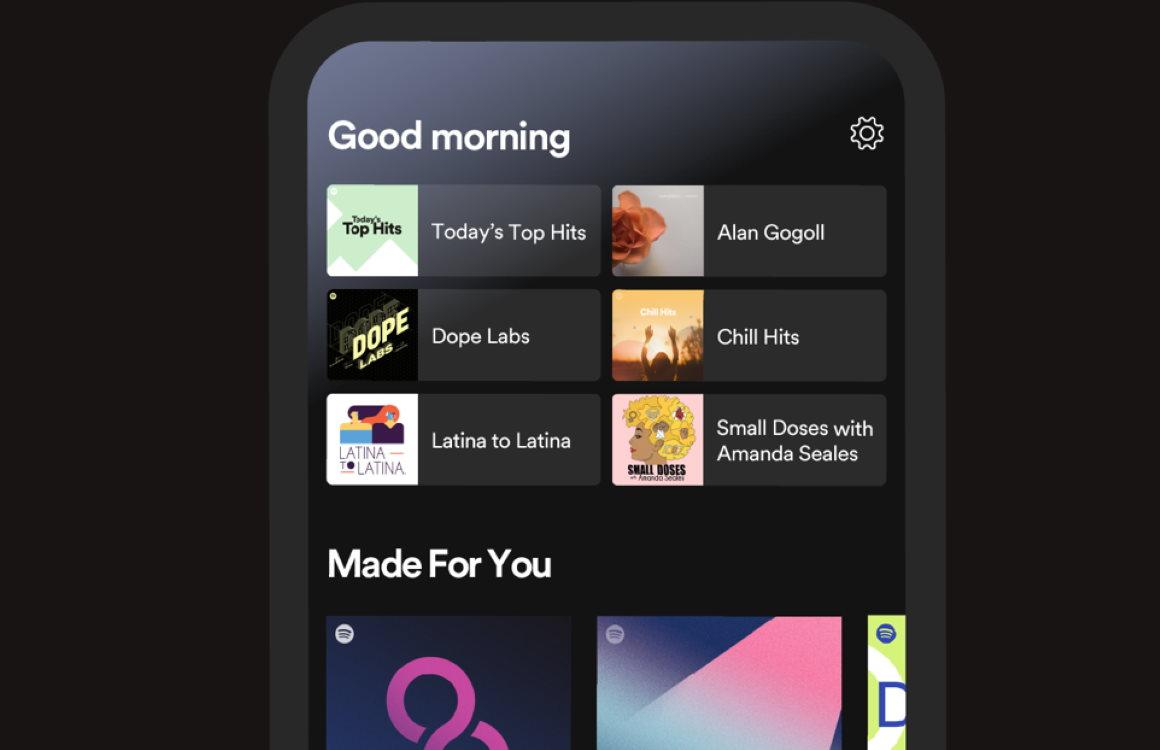 Nieuw beginscherm in Spotify-app past aanbevelingen hele dag door aan