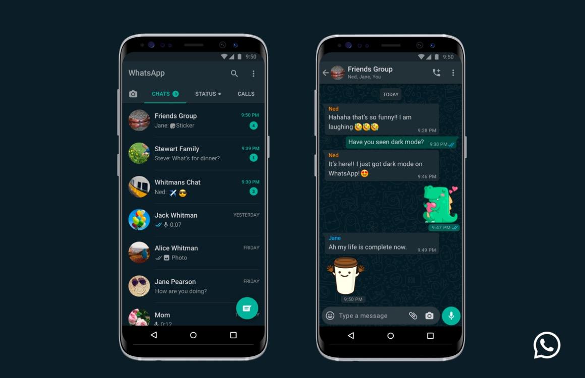 WhatsApp's donkere modus nu voor iedereen beschikbaar