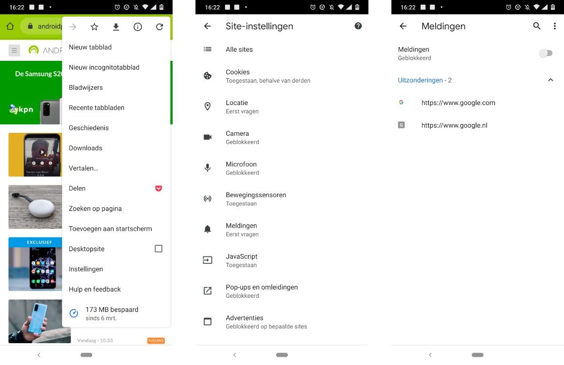 google chrome meldingen blokkeren screens