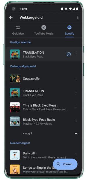 Google Klok & Spotify