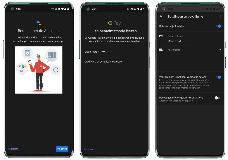 Google Assistent - Betalingen en beveiliging