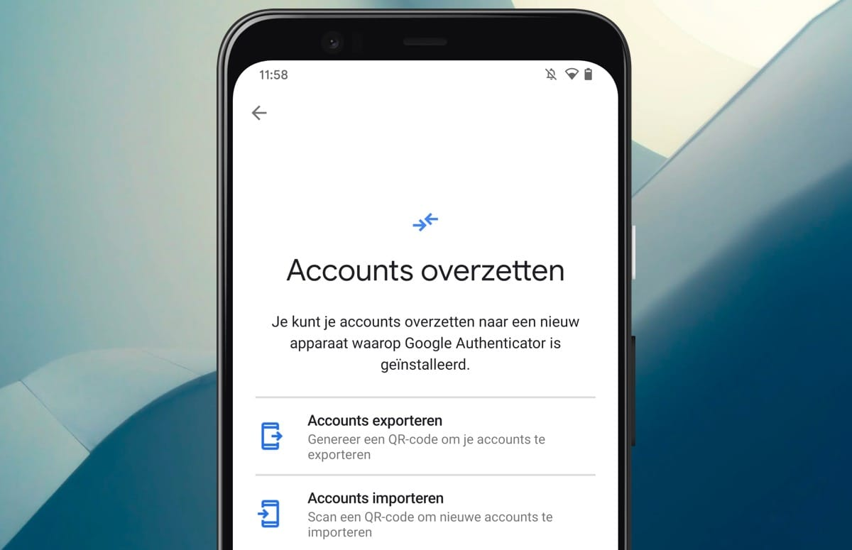 google authenticator accounts overzetten