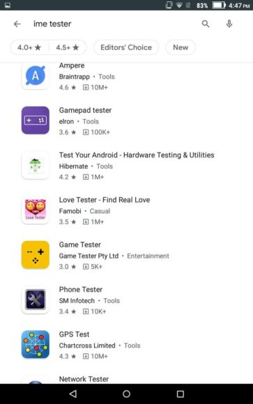 Google Play Store - filters