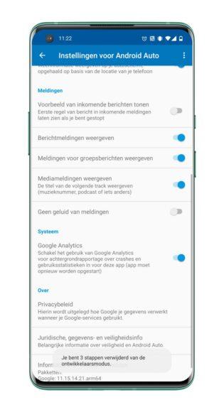 Android Auto - Dag- en nachtmodus