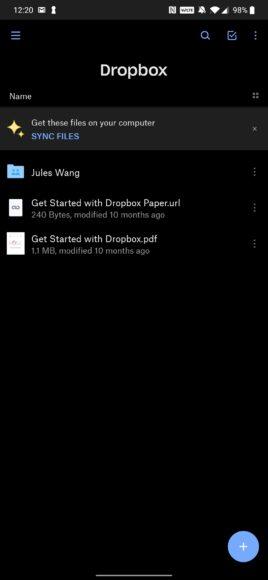Dropbox - donkere modus